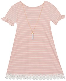 Little Girls Striped Lace-Trim Dress