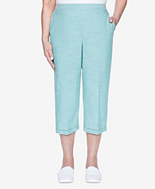 Alfred Dunner Plus Size Pull On Back Elastic Textured Capri