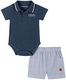 Baby Boys 2-Pc. Polo Bodysuit & Shorts Set