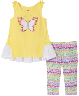 Kids Headquarters Baby Girls 2-Pc. Butterfly Tunic & Printed Leggings Set
