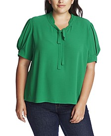 Plus Size Short Sleeve Ruffle V-Neck Top