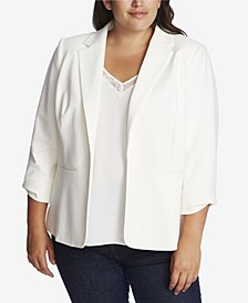 Plus Size 3/4 Sleeve Ponte Blazer with Bow Sleeve