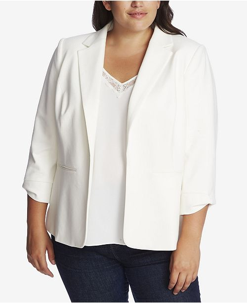 CeCe Plus Size 3/4 Sleeve Ponte Blazer with Bow Sleeve