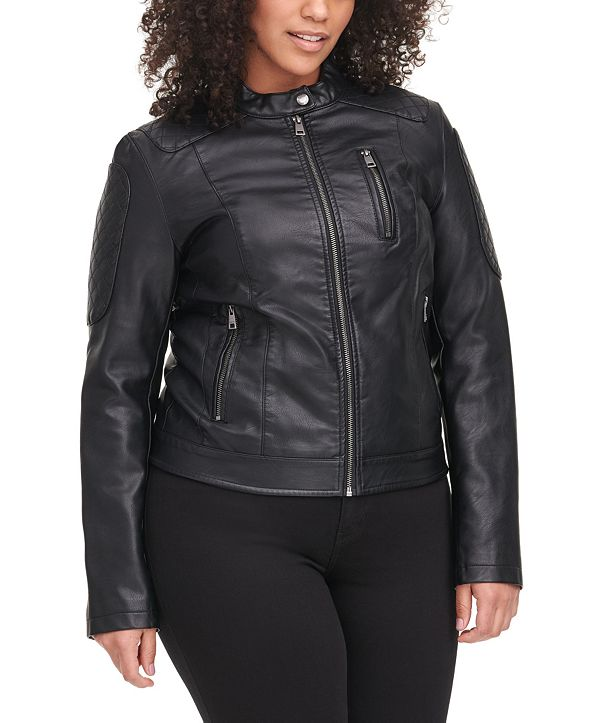 Levi's Trendy Plus Size Classic Faux-Leather Quilted Racer Jacket