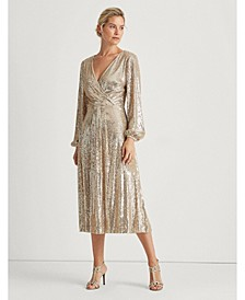 Sequined Surplice Dress