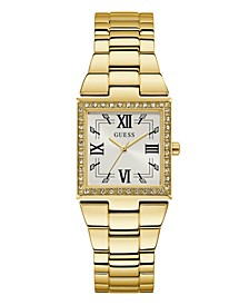 Gold-Tone Square Crystal Steel Watch 28mm