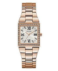 Rose Gold-Tone Square Crystal Steel Watch 28mm