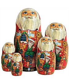 5 Piece Christmas Workshop Russian Matryoshka Nested Doll Set