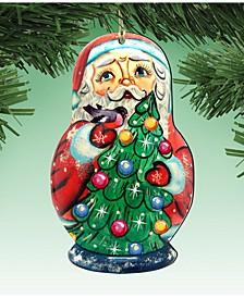 Santa Matreshka Doll Wooden Ornaments, Set of 2