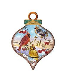 Birds Drop Wooden Ornaments, Set of 2