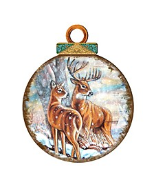 Deers Family Ball Wooden Ornaments, Set of 2