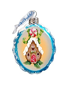 Joy Gingerbread House Hand Painted Glass Ornament