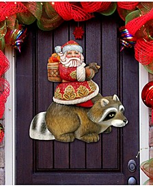 Raccoon Santa Over The Door Wooden Hanger