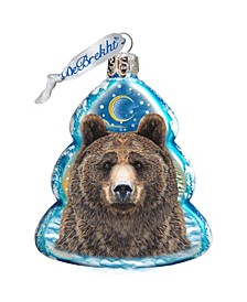 Bear Face Hand Painted Glass Ornament