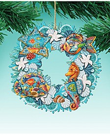 Costal Sea Creatures Wreath 3 Wooden Ornaments Set of 2