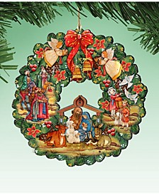 Nativity Wreath Wooden Ornaments Set of 2