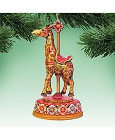 Carousel Giraffe Wooden Christmas Ornament, Set of 2