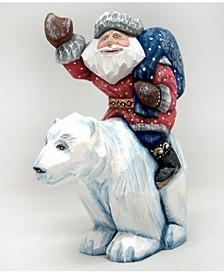 Woodcarved Hand Painted Ride on Polar Bear Santa Figurine