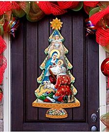 Adoration Nativity Tree Wooden Christmas Door Hanger