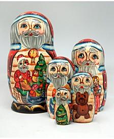 Christmas Workshop Santa 5 Piece Russian Matryoshka Nested Doll Set