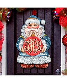 Merry Christmas Santa Red Ball Ornament Personalized Door Hanger
