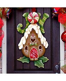 Jamie Mills Price Christmas Joy Gingerbread House Door Hanger