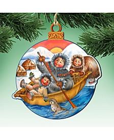 North Pole Santa Wooden Christmas Ornament Set of 2