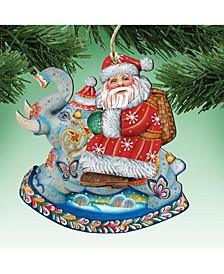 Santa on Elephant Wooden Christmas Ornament, Set of 2