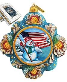Hand Painted Scenic Ornament Patriotic Snowman