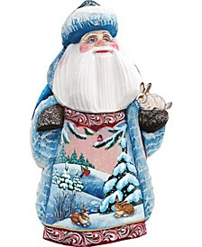 Woodcarved Hand Painted Bunny Friends Santa Figurine