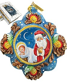 Hand Painted Scenic Ornament Saint Nick Reason For The Season