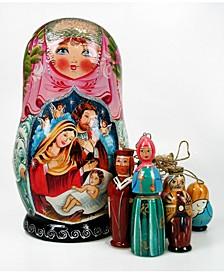 Nativity Angel Ornaments and Russian Matryoshka Wooden Doll Set