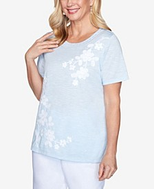 Plus Size Asymmetric Floral Short Sleeve Knit Top with Novelty Neckline