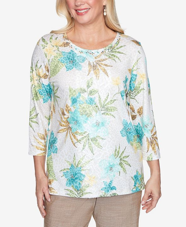 Alfred Dunner Plus Size Three Quarter Sleeve Tropical Animal Print Knit Top