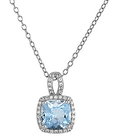 "Aquamarine (2-1/20 ct. t.w.) & Lab-Created White Sapphire (1/20 ct. t.w.) 18"" Pendant Necklace in Sterling Silver"