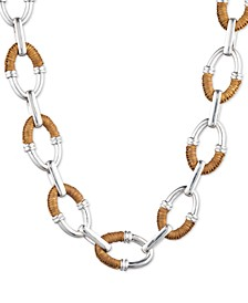 """Silver-Tone Raffia-Wrapped Oval Link 18-1/4"""" Collar Necklace"""