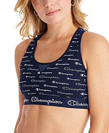 Champion Women's Authentic Logo-Print Cutout Racerback Medium-Support Sports Bra