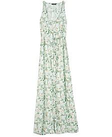 Tie-Waist Floral-Print Maxi Dress