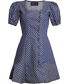 Puff-Sleeve Fit & Flare Mini Dress