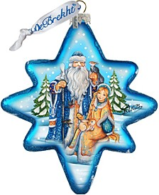 Father Frost and Snow Maiden North Star Glass Ornament