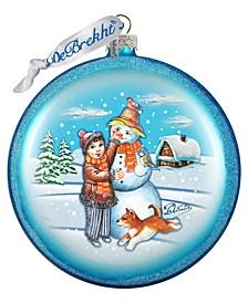 Snowman Play Star Glass Ornament