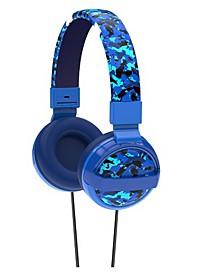 SafeSounds - Kids Blue Camo Printed Volume-Limiting Wired Headphones