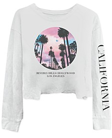 Juniors' California Long-Sleeve Cotton T-Shirt