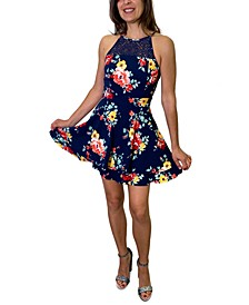 Juniors' Floral-Print Lace-Trim A-Line Dress