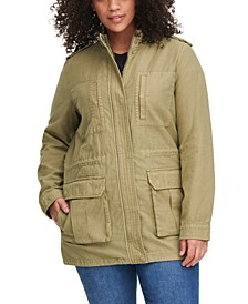 Trendy Plus Size Stand-Collar Cotton Anorak Jacket