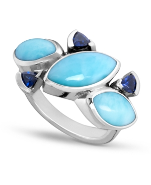 Larimar & Cubic Zirconia Statement Ring in Sterling Silver