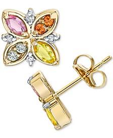 Multi-Sapphire (3/4 ct. t.w.) & Diamond (1/20 ct. t.w.) Flower Stud Earrings in 14k Gold