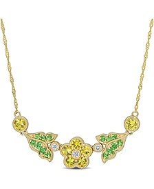 "Yellow Sapphire (1-1/5 ct. t.w.) & Tsavorite (1/5 ct. t.w.) Flower & Leaf 17"" Statement Necklace in 10k Gold"