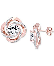 White Topaz Floral Swirl Stud Earrings (5-1/7 ct. t.w.) in 18k Rose Gold-Plated Sterling Silver
