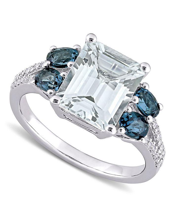 Macy's - Aquamarine (3 ct. t.w.), Blue Topaz (1 ct. t.w.) & Diamond (1/10 ct. t.w.) Ring in Sterling Silver